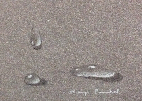 Drops of water on grey paper by Manju Panchal
