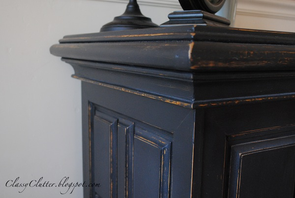 Classic black console makeover classy clutter for Painting wood table black