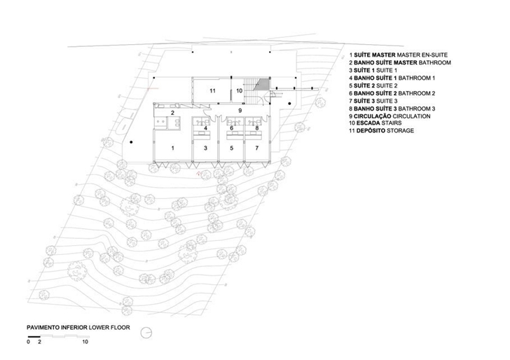 Lower floor plan of AMB House by Jacobsen Arquitetura