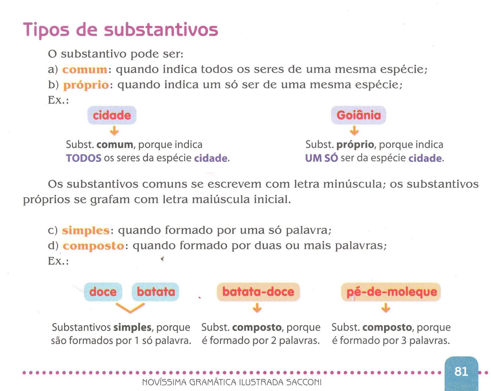 Definição substantivo proprio e comum