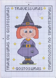 Gráfico para bordado de Bruxinha - Halloween