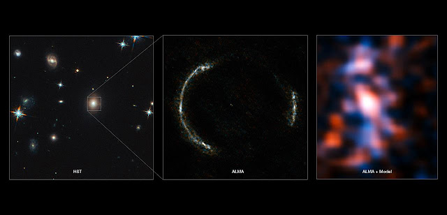 The left panel shows the foreground lensing galaxy (observed with Hubble), and the gravitationally lensed galaxy SDP.81, which forms an almost perfect Einstein Ring, is hardly visible.  The middle image shows the sharp ALMA image of the Einstein ring, with the foreground lensing galaxy being invisible to ALMA. The resulting reconstructed image of the distant galaxy (right) using sophisticated models of the magnifying gravitational lens, reveal fine structures within the ring that have never been seen before: Several dust clouds within the galaxy, which are thought to be giant cold molecular clouds, the birthplaces of stars and planets.  Credit: ALMA (NRAO/ESO/NAOJ)/Y. Tamura (The University of Tokyo)/Mark Swinbank (Durham University)