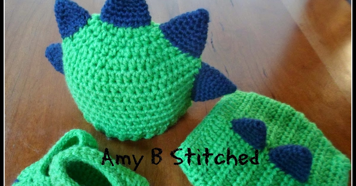 Crochet Dinosaur Hat And Diaper Cover Pattern : A Stitch At A Time for Amy B Stitched: Newborn DINOSAUR ...