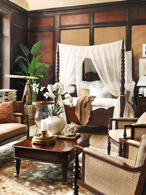 Eye for design tropical british colonial interiors for Armoire chambre style colonial