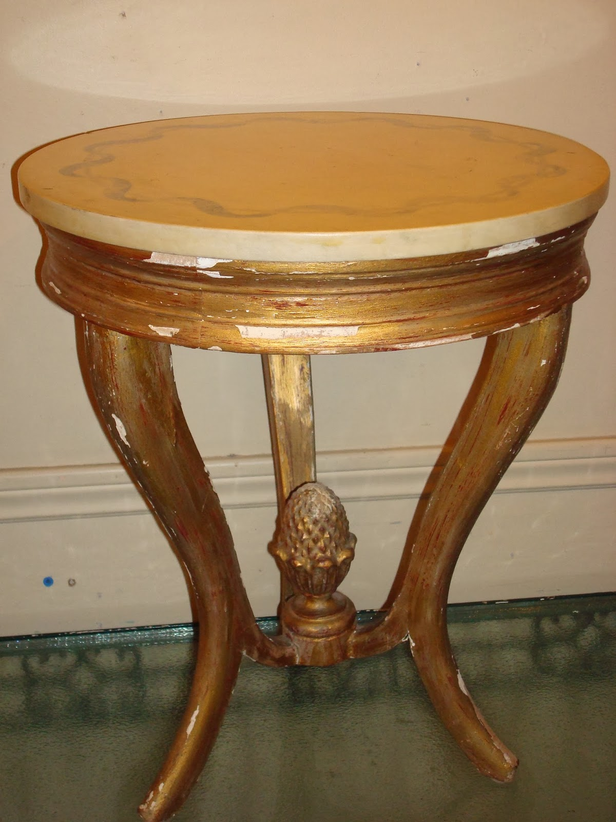 Era antiques vintage gilt wood round side table with a yellow marble
