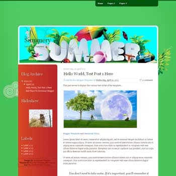 Summery Blogger Template. blogger template from wordpress theme