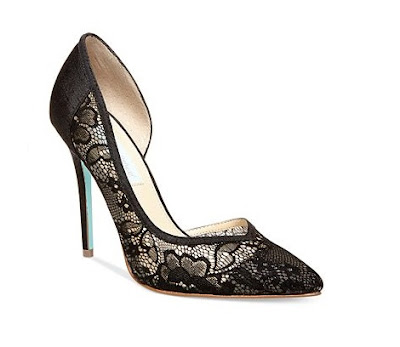 Blue by Betsey Johnson black lace d'orsay high heeled pumps