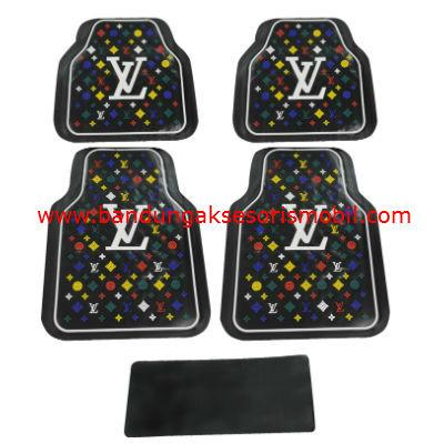 Karpet LV Dasar Hitam Motif 3 Colour Guang Zhou
