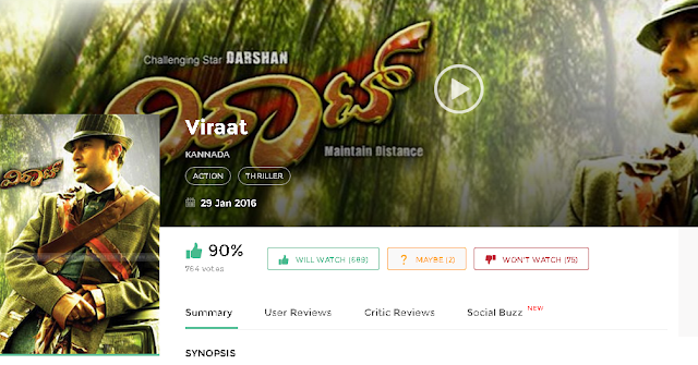 Viraat 2016 Full Kannada Movie 700Mb 300mb Free