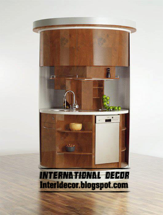 Brown Small Kitchen Cabinets Module Design 2013