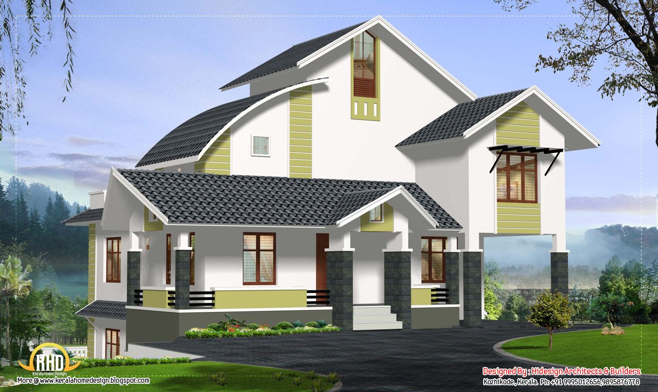 Contemporary home design for stepped ground 3067 sq ft for Ground floor modern house design