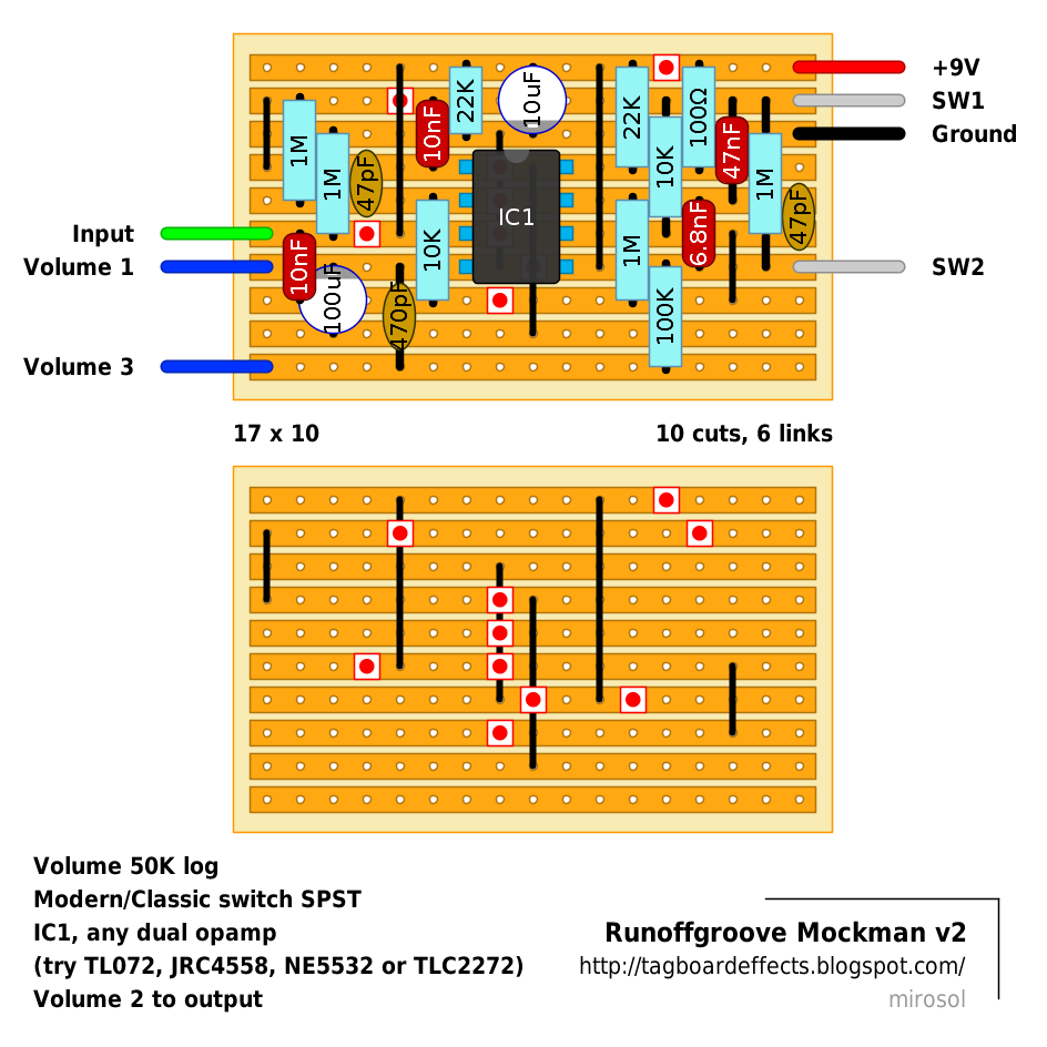 Guitar Fx Layouts Runoffgroove Mockman Opamp Audio Mixer Circuit Diagram With Ne5532 The Output Filter Capacitor Can Be Set Initially To 470pf Then Tuned According Your Preference And Op Amp In Use