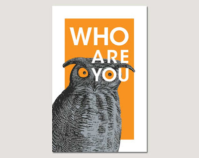 who are you owl poster on grey