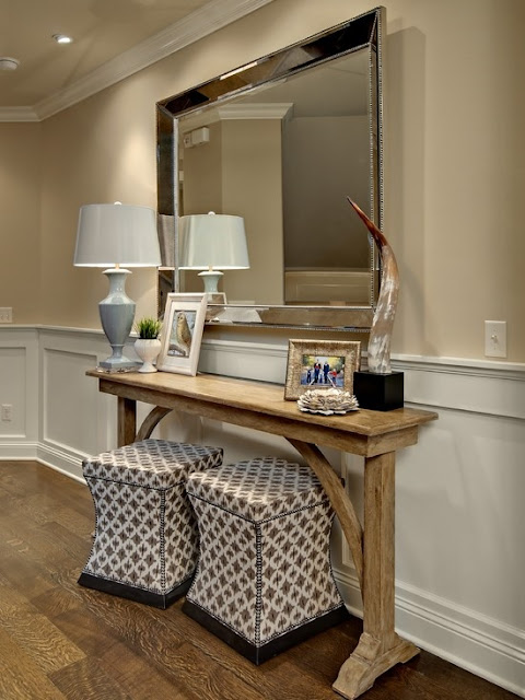 Console Table with Ottomans
