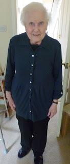 Katie's Nan modelling the Imogen Jersey Shirt