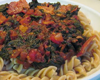 Fusili with Chard Tomato & Bacon Sauce