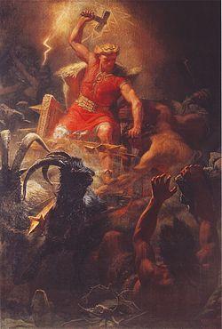 Thor en la batalla contra los gigantes, según Mårten Eskil Winge, 1872.