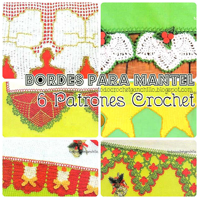 6 Patrones de Puntillas ~ Bordes Navideños para Manteles | Todo crochet