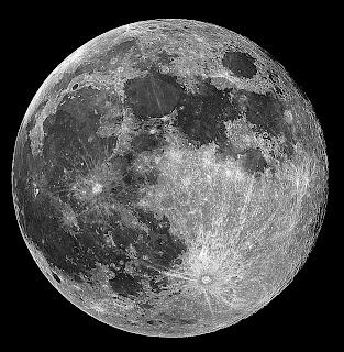 Foto en blanco y negro de la luna.
