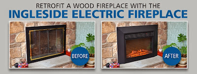 The before and after images of converting a wood fireplace to an electric fireplace.