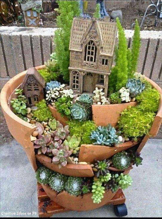 mini jardins em vaso:Fairy Garden Flower Pots