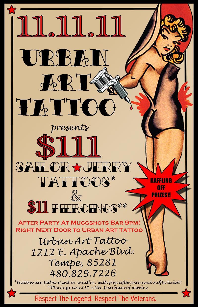 Makeup University Inc: Veteran's Day Sale with Urban Art Tattoo