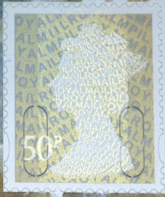 50p litho Machin from William Morris booklet.