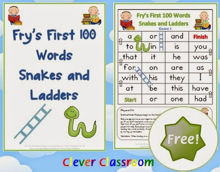FREE Fry's First 100 Words Snakes and Ladders Games x 6
