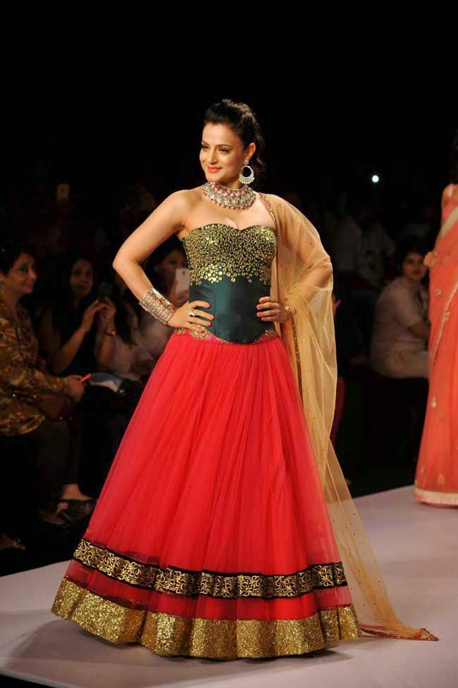 Ameesha Patel In Red and Green Designer Lehenga