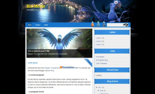 Free Blogger Blue Black Movies Template