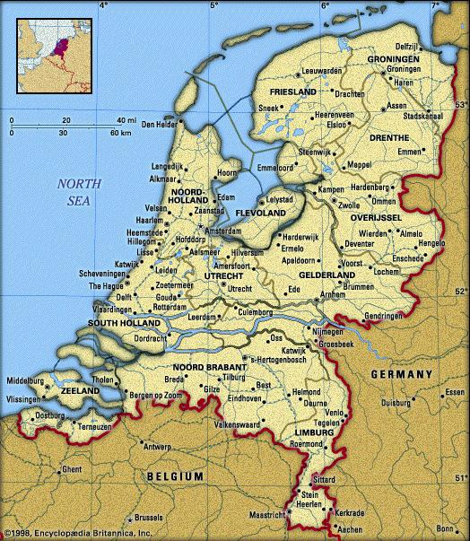 Map of Netherlands Cities Pictures  Map of Netherlands Holland
