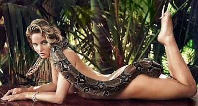 Naked Jennifer Lawrence showing ass with snake