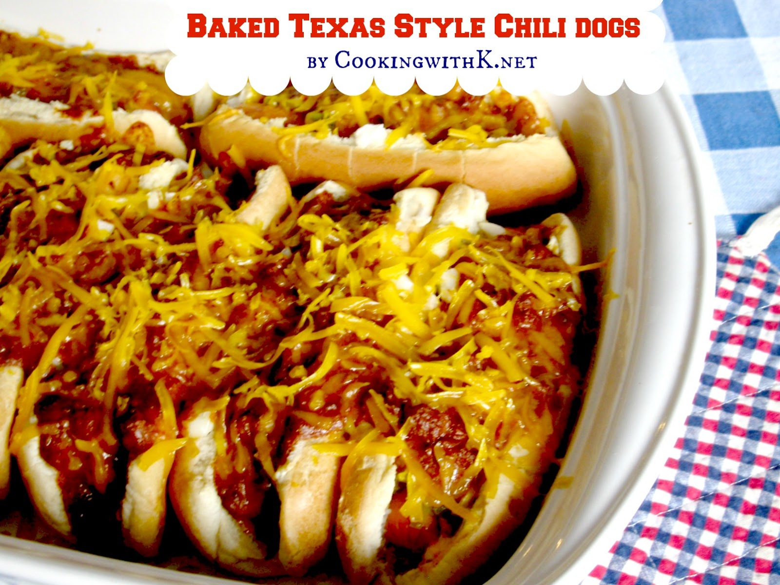 Baked Texas Style Chili Dogs