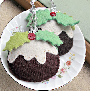 Christmas ornament pudding eco recycled felt sewing kit