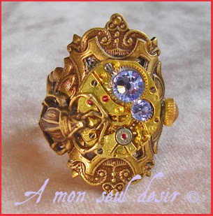 Bague Steampunk Bronze mécanisme insecte scarabée bug scarab beatle ring clockwork watchwork jewelry Chronostasis