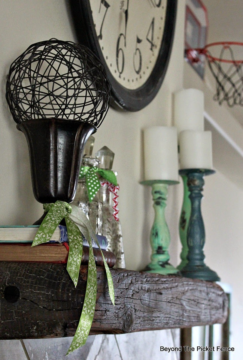 beyond the picket fence, paint, shabby decor, mantel, fusion paint, candlesticks, http://bec4-beyondthepicketfence.blogspot.com/2015/02/project-challenge-2-with-thrift-store.html