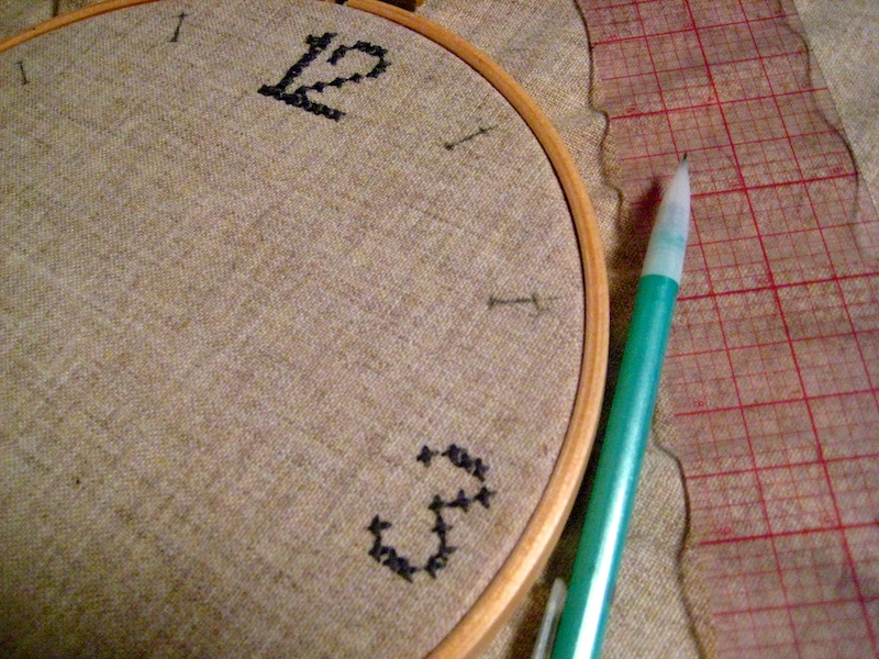 From scratch embroidery hoop clock