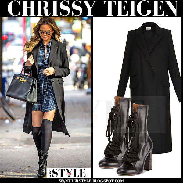 Chrissy Teigen in black mugler coat, check print dress and black chloe ankle boots what she wore models off duty
