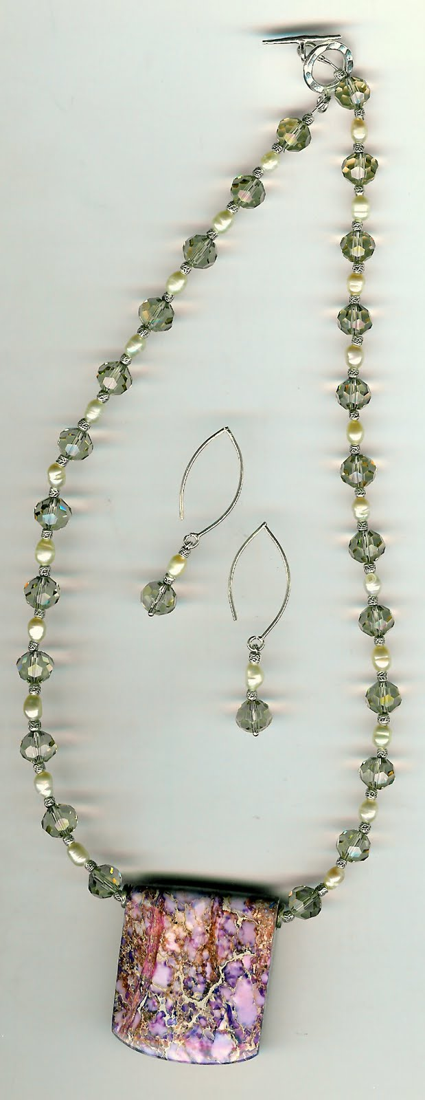 218. Pendent, with Crystals, Rice Pearls and Thai Sterling Silver with Earrings
