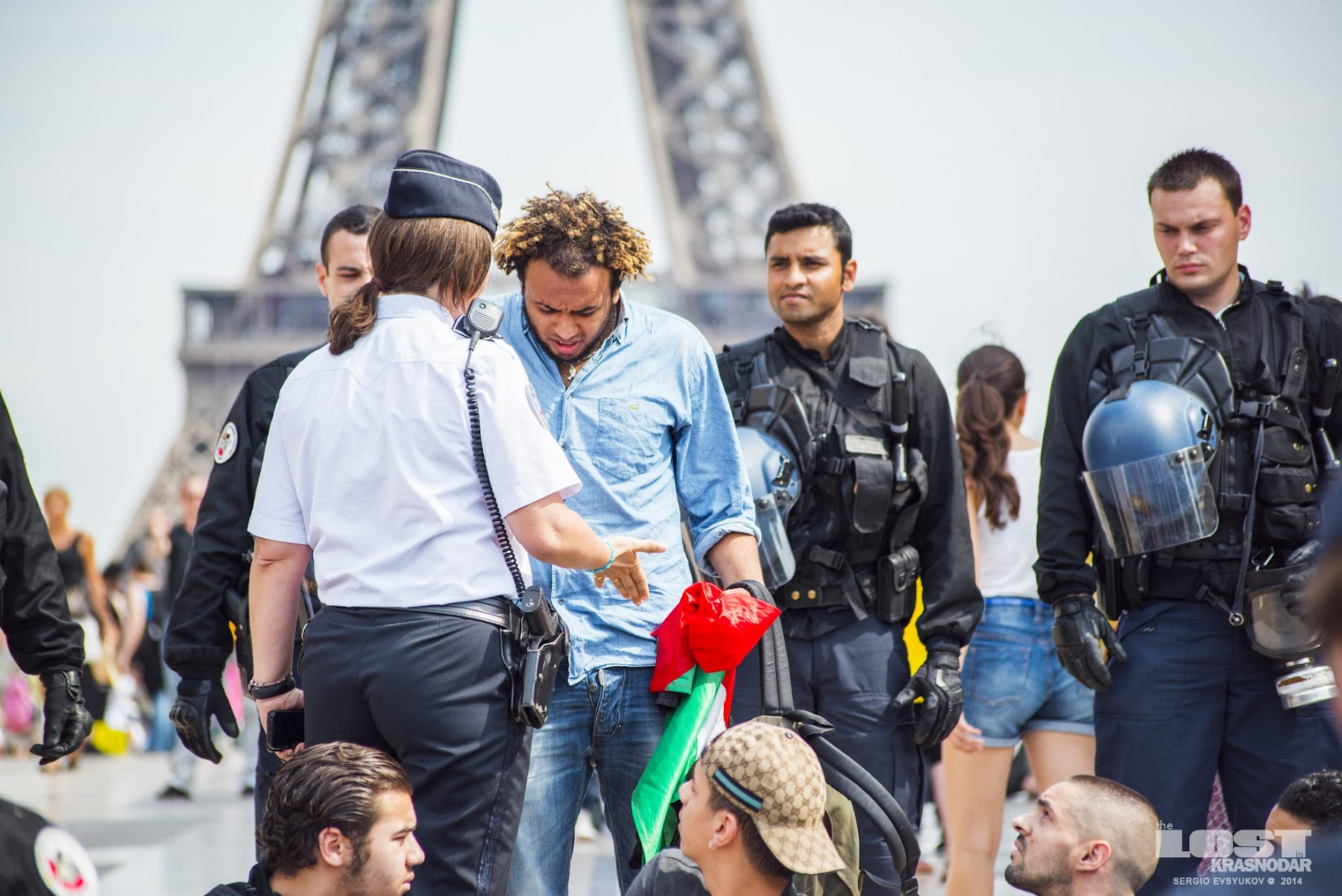 French gendarme stopped the protest