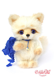 Artist teddy fox, polar fox, teddy ooak, handmade teddy, teddies with charm, NatalKa Creations, Künstlerteddy, Künstlerfuchs, Polarfuchs, Teddy, авторский лисенок, полярная лиса, лисенок тедди