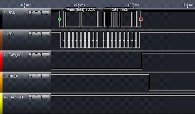 Logic Analyzer screenshot, showing switch from Power mode to Headphone mode