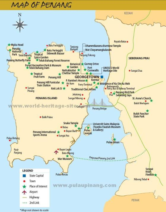 Penang Map - State And Attraction