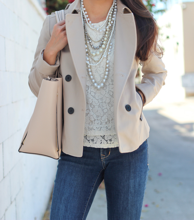 Ann Taylor crystal pearlized statement necklace Pebbled signature tote Banana Republic lace shell