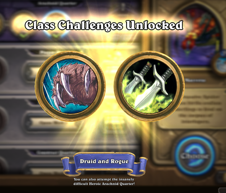 Blizzard Hearthstone Curse of Naxxramas class challenges druid rogue