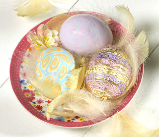 украшение глиной FIMO пасхальных яиц
