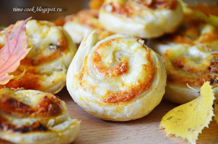 слоеные улитки с творожным сыром рецепт с фото