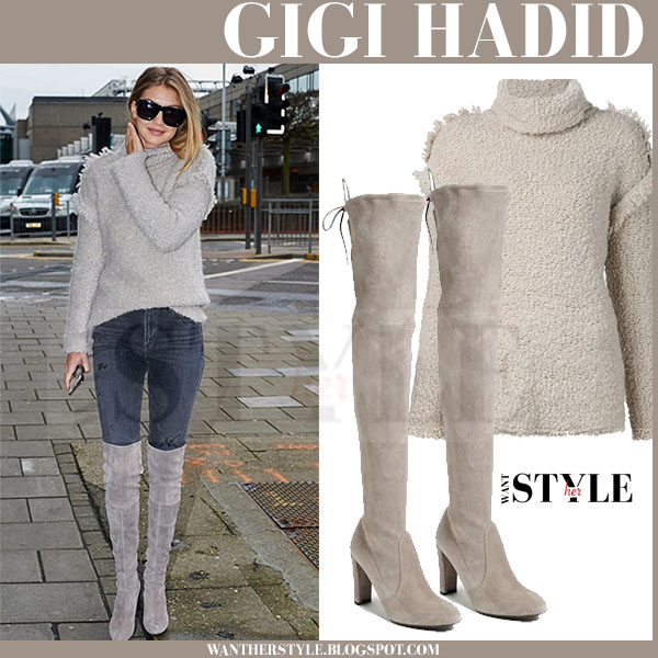 Gigi Hadid in beige knit turtleneck iro cliff sweater and beige grey suede stuart weitzman highland boots what she wore models off duty