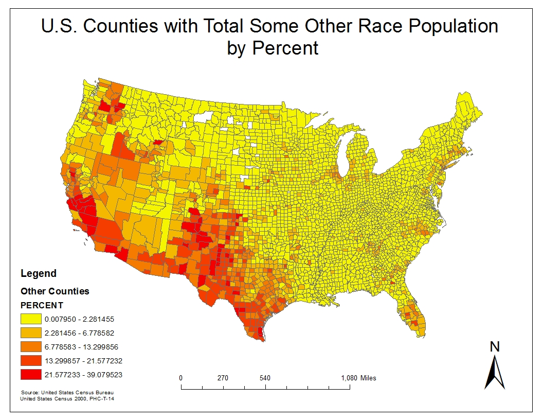in this last map the data collected to project this was called some other race alone we can see a trend of this particular race located in the western