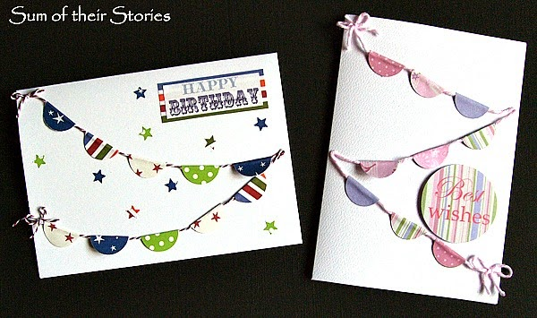 Simple bunting birthday cards